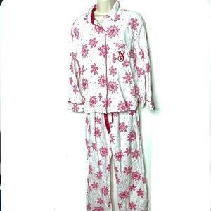 Victoria's Secret white pink snowflake flannel pj